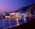mykonos port by night