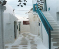 mykonos white washed alleys